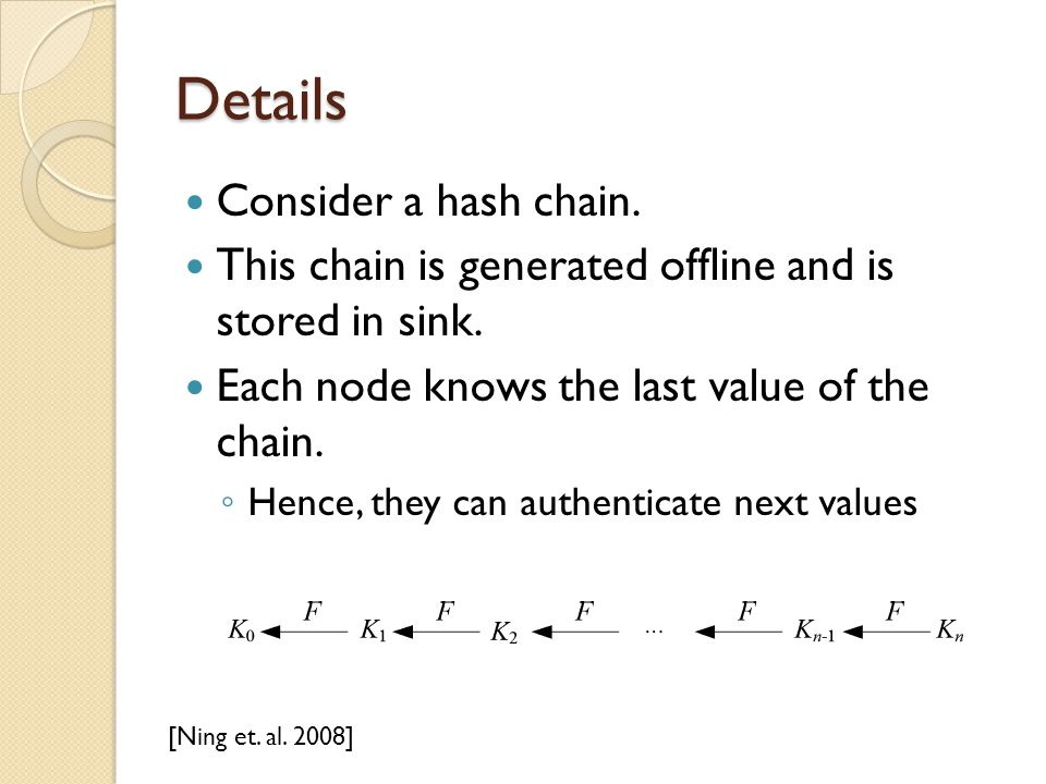 Details Consider a hash chain.This chain is generated offline and is stored in sink.