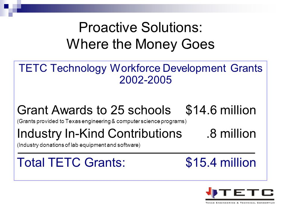 Proactive Solutions: Where the Money Goes TETC Technology Workforce Development Grants 2002-2005 Grant Awards to 25 schools$14.6 million (Grants provi