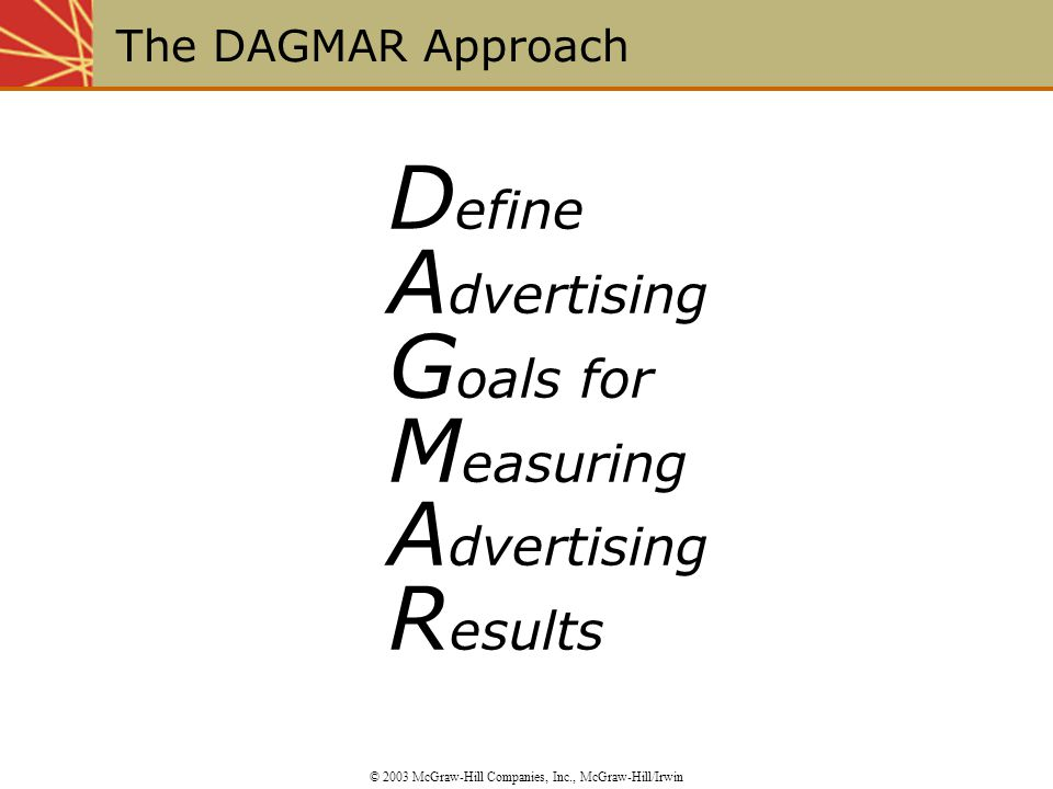 The DAGMAR Approach © 2003 McGraw-Hill Companies, Inc., McGraw-Hill/Irwin D efine A dvertising G oals for M easuring A dvertising R esults