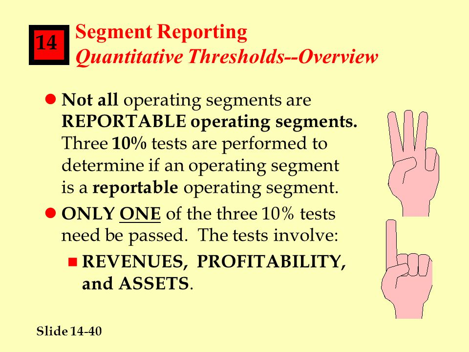 Slide 14-40 14 Segment Reporting Quantitative Thresholds--Overview l Not all operating segments are REPORTABLE operating segments.