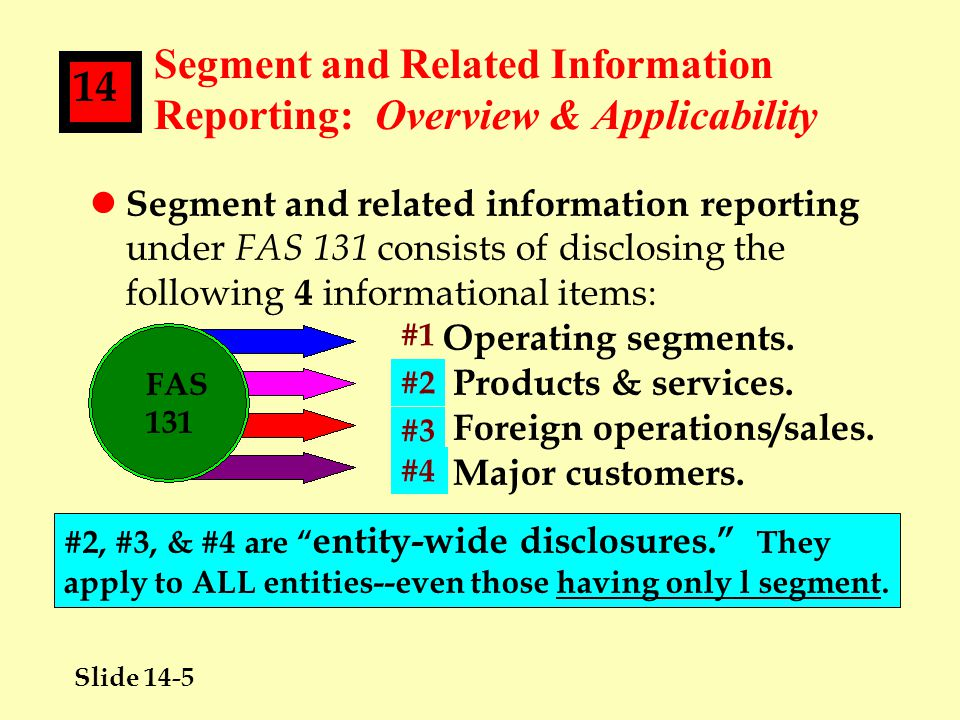 Slide 14-16 14 Segment Reporting: Disclosures Required lAn entity must disclose 4 types of information about its REPORTABLE OPERATING SEGMENTS: n General information.