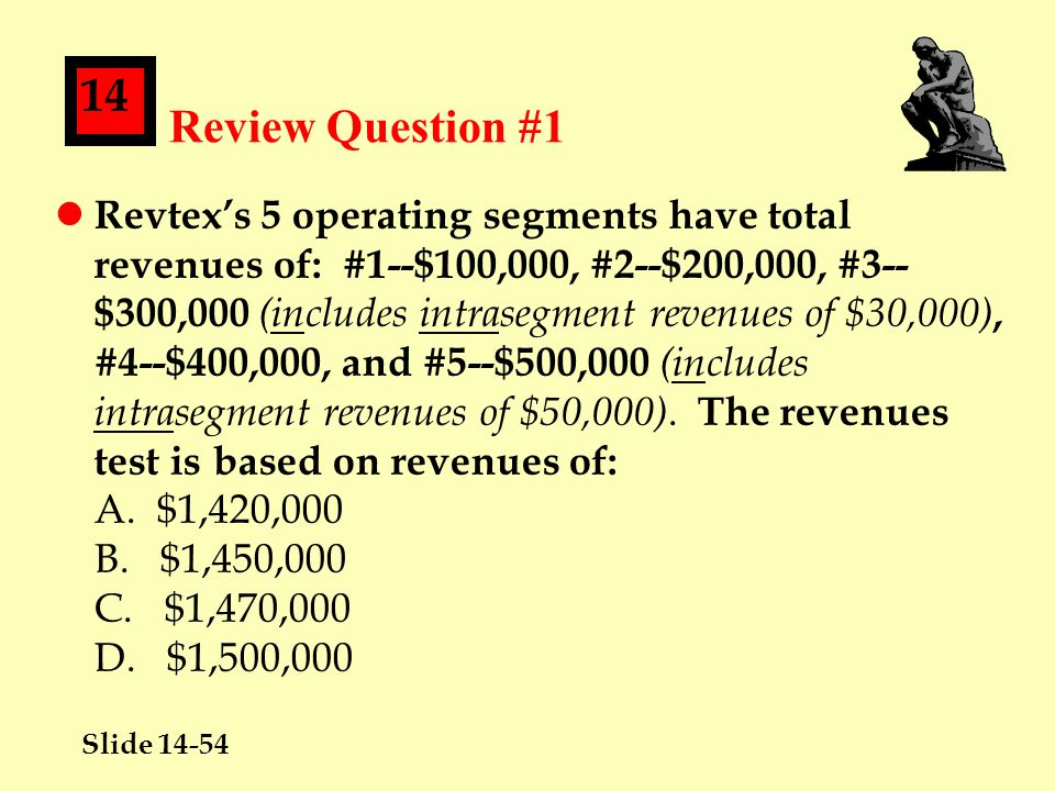 Slide 14-54 14 Review Question #1 l Revtex's 5 operating segments have total revenues of: #1--$100,000, #2--$200,000, #3-- $300,000 (includes intrasegment revenues of $30,000), #4--$400,000, and #5--$500,000 (includes intrasegment revenues of $50,000).