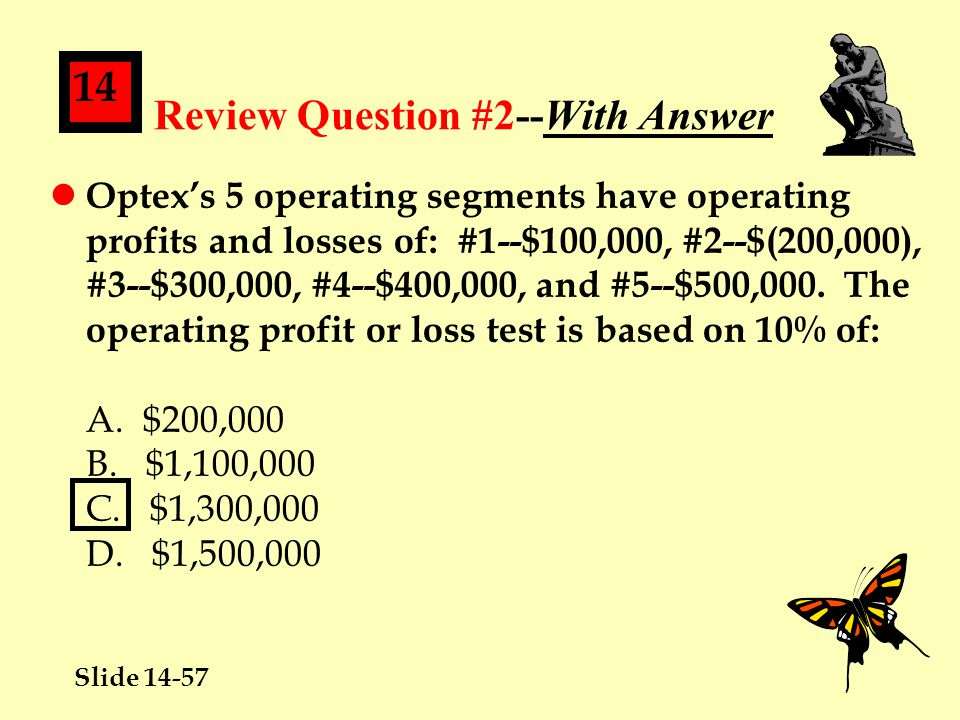 Slide 14-57 14 Review Question #2--With Answer l Optex's 5 operating segments have operating profits and losses of: #1--$100,000, #2--$(200,000), #3--$300,000, #4--$400,000, and #5--$500,000.