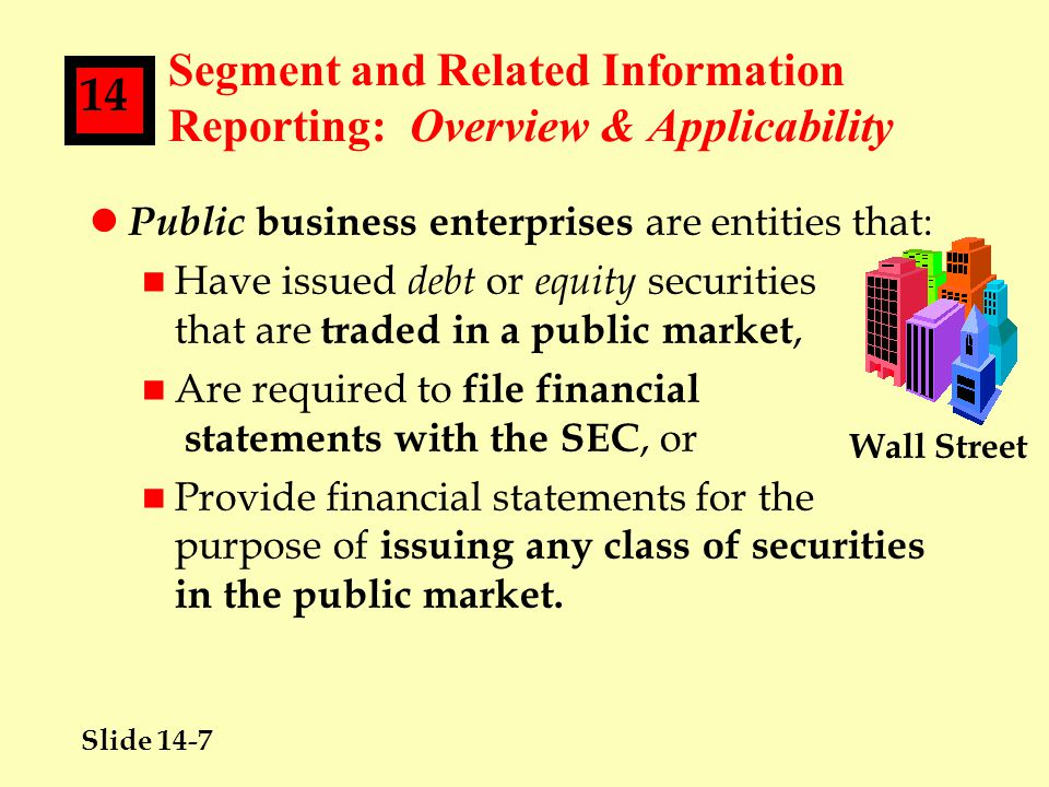 Slide 14-7 14 Segment and Related Information Reporting: Overview & Applicability l Public business enterprises are entities that: n Have issued debt or equity securities that are traded in a public market, n Are required to file financial statements with the SEC, or n Provide financial statements for the purpose of issuing any class of securities in the public market.