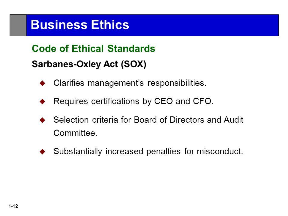 1-12 Sarbanes-Oxley Act (SOX)  Clarifies management's responsibilities.