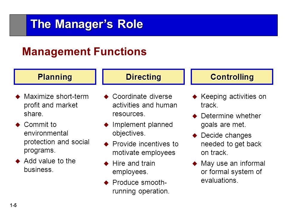 1-5 Management Functions Planning  Maximize short-term profit and market share.
