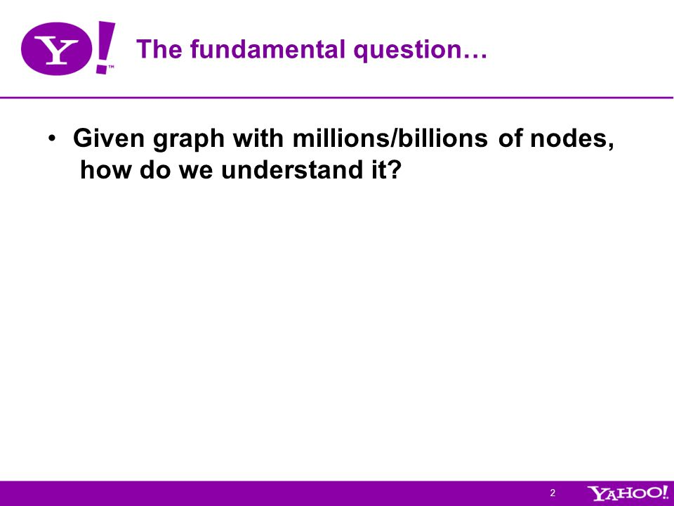 2 The fundamental question… Given graph with millions/billions of nodes, how do we understand it