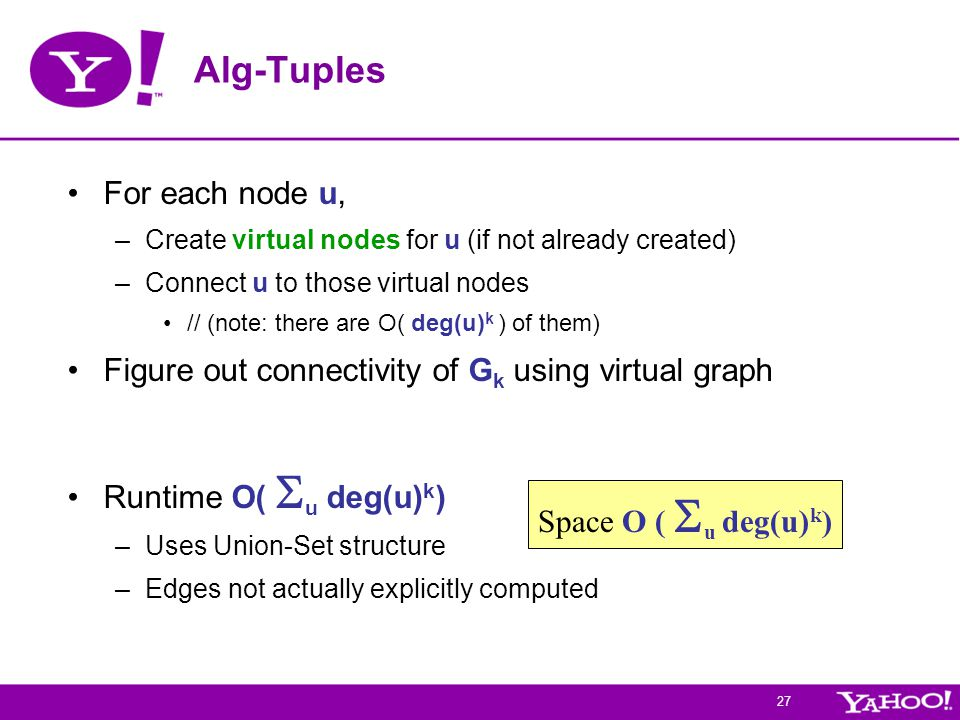27 Alg-Tuples For each node u, –Create virtual nodes for u (if not already created) –Connect u to those virtual nodes // (note: there are O( deg(u) k ) of them) Figure out connectivity of G k using virtual graph Runtime O(  u deg(u) k ) –Uses Union-Set structure –Edges not actually explicitly computed Space O (  u deg(u) k )