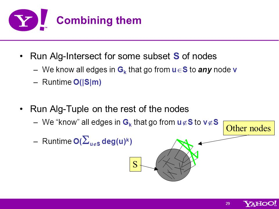 29 Combining them Run Alg-Intersect for some subset S of nodes –We know all edges in G k that go from u  S to any node v –Runtime O(|S|m) Run Alg-Tuple on the rest of the nodes –We know all edges in G k that go from u  S to v  S –Runtime O(  u  S deg(u) k ) S Other nodes