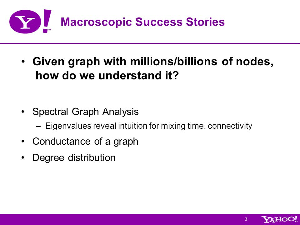 3 Macroscopic Success Stories Given graph with millions/billions of nodes, how do we understand it.