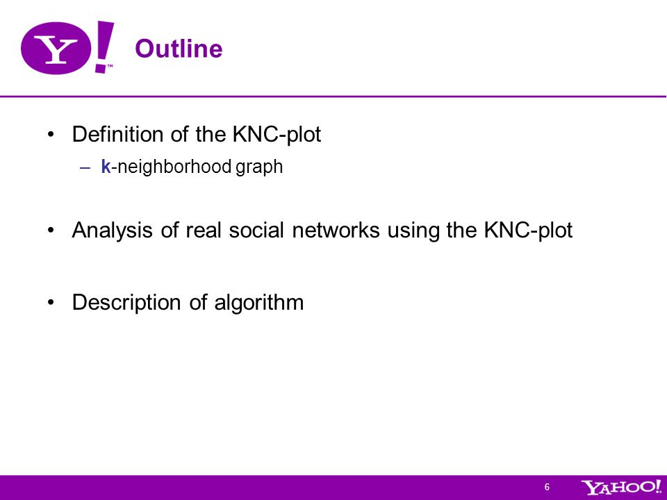 6 Outline Definition of the KNC-plot –k-neighborhood graph Analysis of real social networks using the KNC-plot Description of algorithm