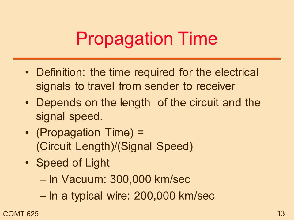 COMT 625 13 Propagation Time Definition: the time required for the electrical signals to travel from sender to receiver Depends on the length of the c