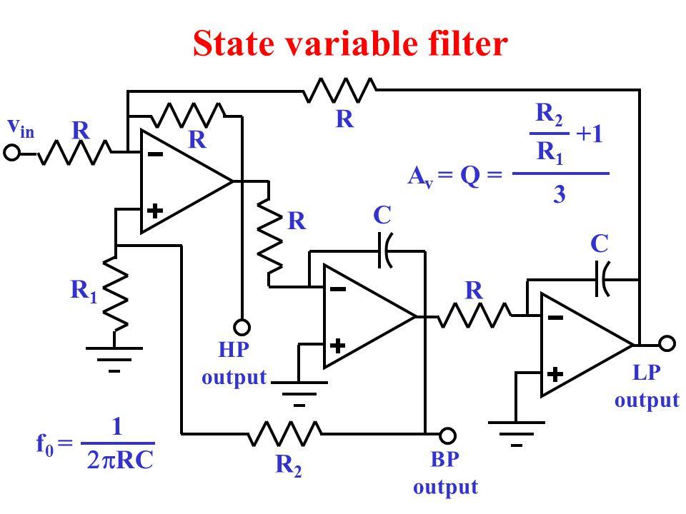 State variable filter v in R1R1 C R R R R R R2R2 C HP output BP output LP output R2R2 R1R1 +1 3 A v = Q = f 0 =  RC 1
