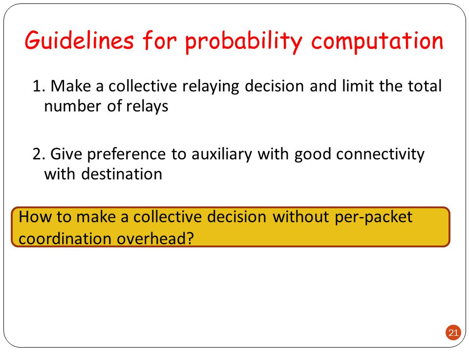 Guidelines for probability computation 1.