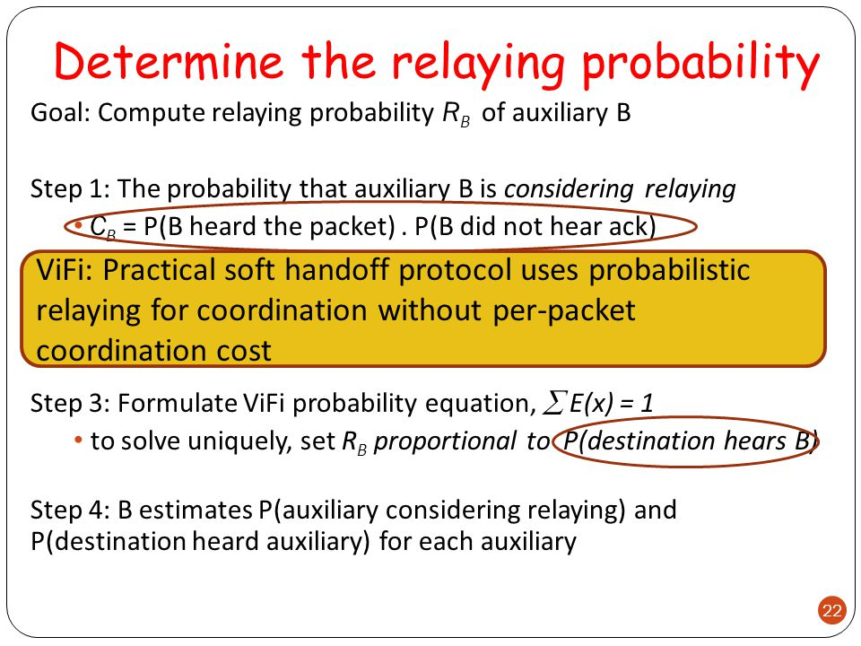 Determine the relaying probability Goal: Compute relaying probability R B of auxiliary B Step 1: The probability that auxiliary B is considering relaying C B = P(B heard the packet).