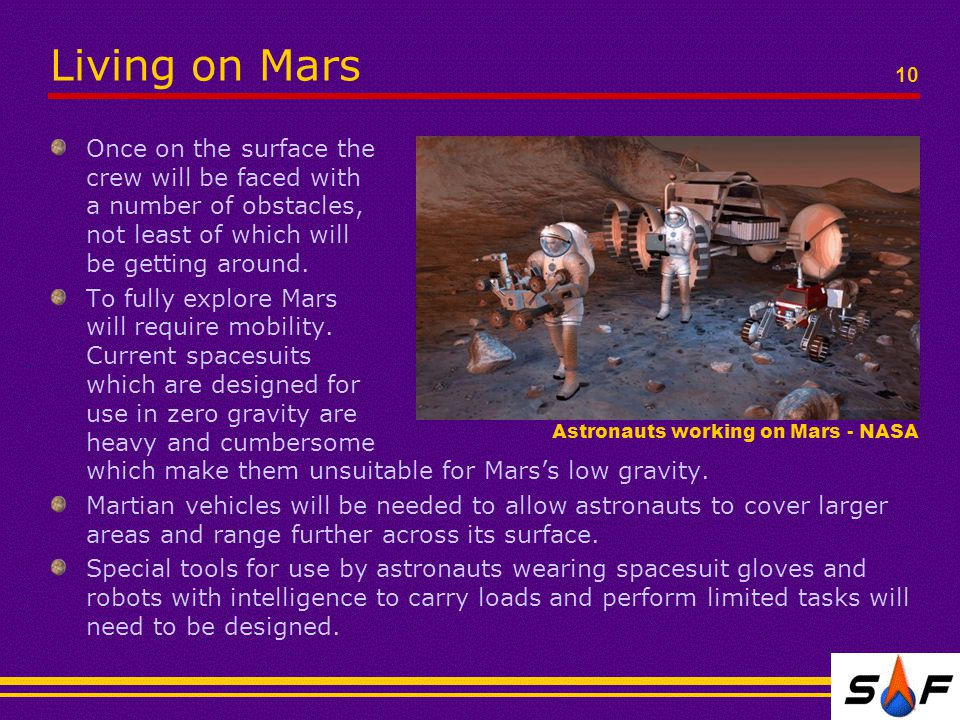 10 Living on Mars Once on the surface the crew will be faced with a number of obstacles, not least of which will be getting around.