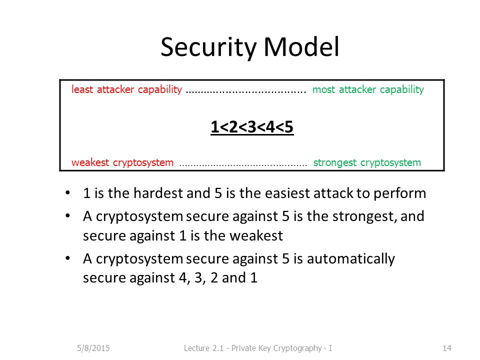 Security Model 1 is the hardest and 5 is the easiest attack to perform A cryptosystem secure against 5 is the strongest, and secure against 1 is the weakest A cryptosystem secure against 5 is automatically secure against 4, 3, 2 and 1 least attacker capability......................................
