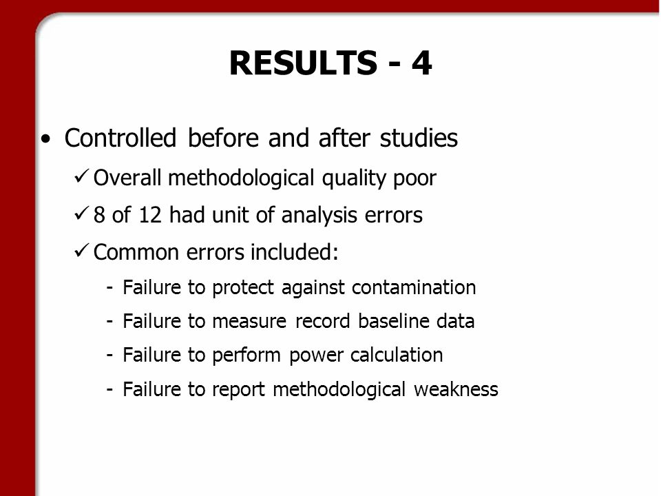 RESULTS - 4 Controlled before and after studies Overall methodological quality poor 8 of 12 had unit of analysis errors Common errors included: -Failure to protect against contamination -Failure to measure record baseline data -Failure to perform power calculation -Failure to report methodological weakness