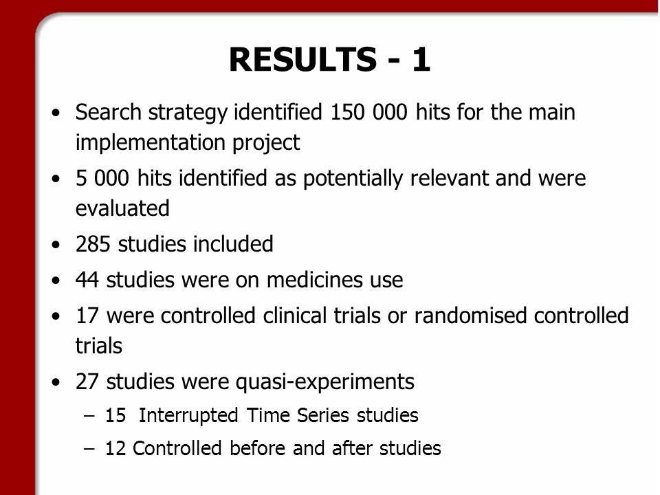 RESULTS - 2 24 of 27 studies were multiple interventions Studies were in 5 main areas Area of interest# of studies Antibiotics6 Antipsychotics5 Pain relief medicines4 GIT drugs4 Hypertensives3 Others5