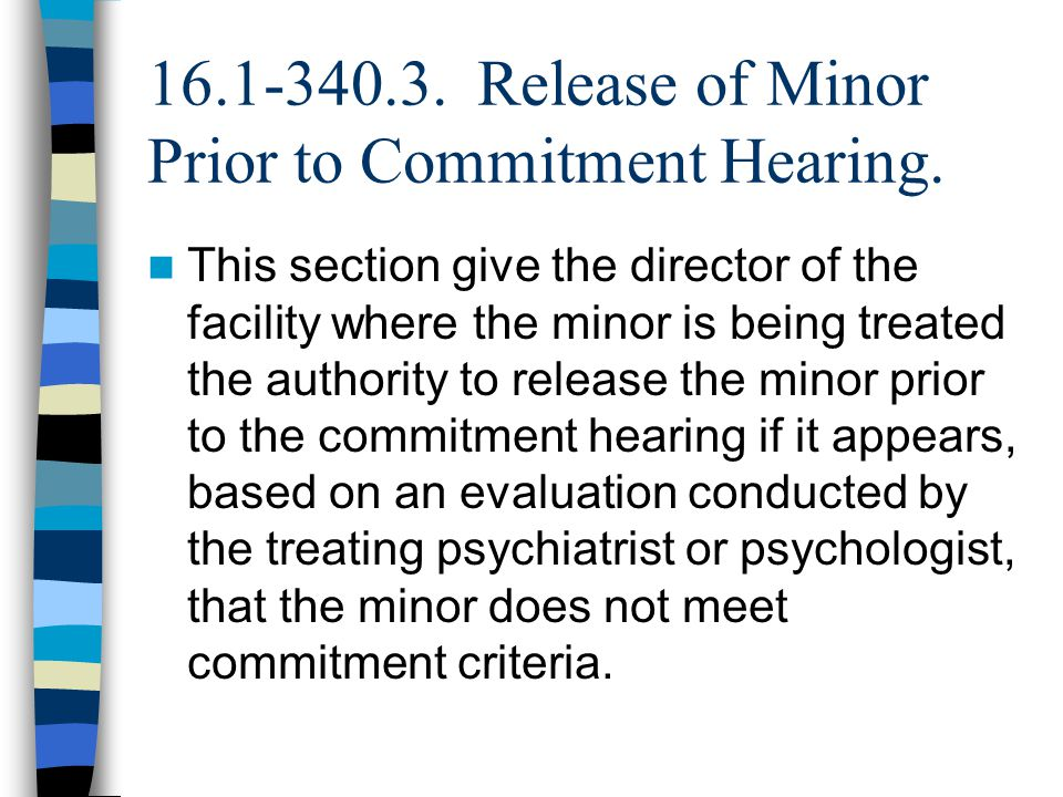 16.1-340.3. Release of Minor Prior to Commitment Hearing.