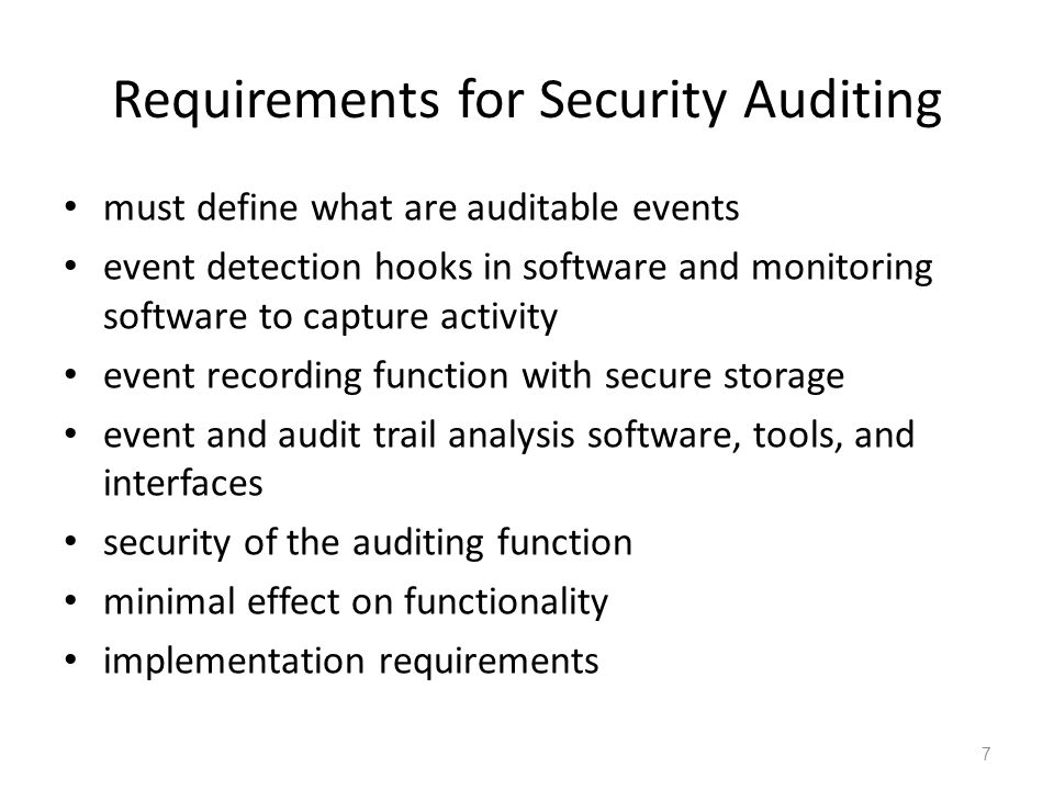 What to Collect issue of amount of data generated – tradeoff quantity vs efficiency data items captured may include: – auditing software use – use of system security mechanisms – events from IDS and firewall systems – system management / operation events – operating system access (system calls) – access to selected applications – remote access include both normal and abnormal conditions system, application, user, physical access 8