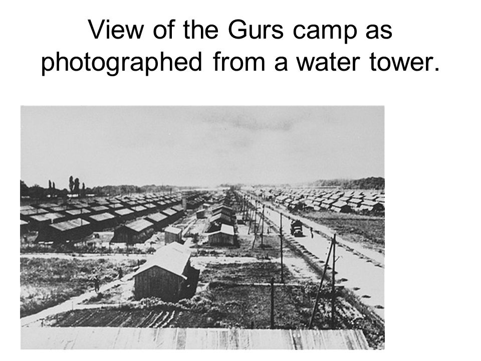 View of the Gurs camp as photographed from a water tower.