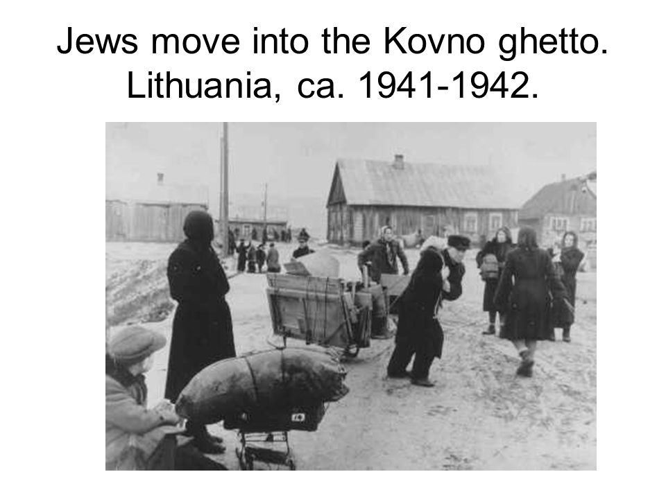 Jews move into the Kovno ghetto. Lithuania, ca. 1941-1942.