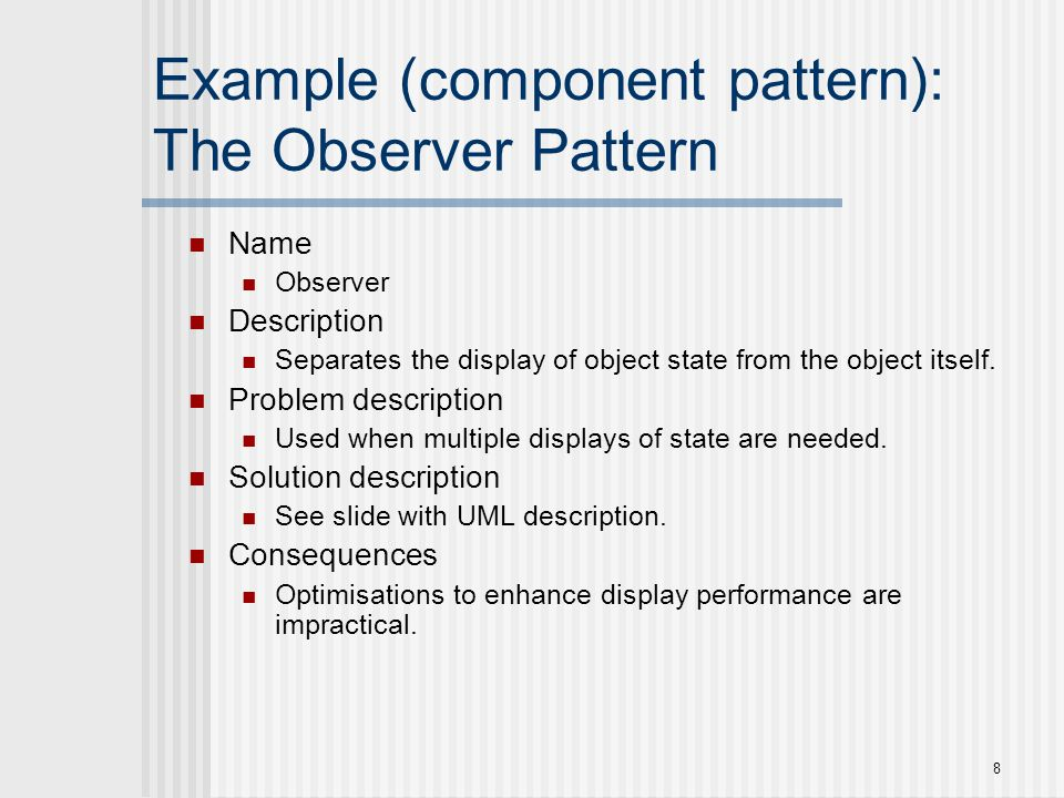 19 Component-Level Patterns Component-level design patterns provide a proven solution that addresses one or more sub-problems extracted from the requirement model.