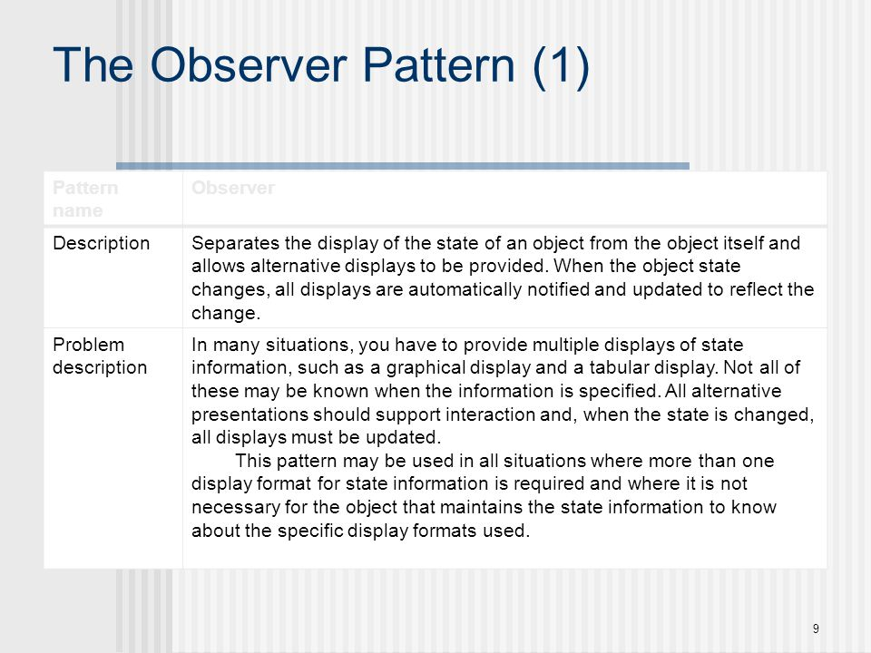 The Observer Pattern (1) Pattern name Observer DescriptionSeparates the display of the state of an object from the object itself and allows alternativ