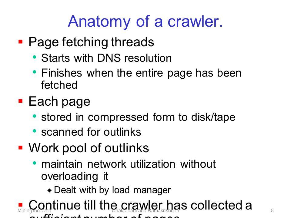 Mining the WebChakrabarti and Ramakrishnan9 Typical anatomy of a large-scale crawler.