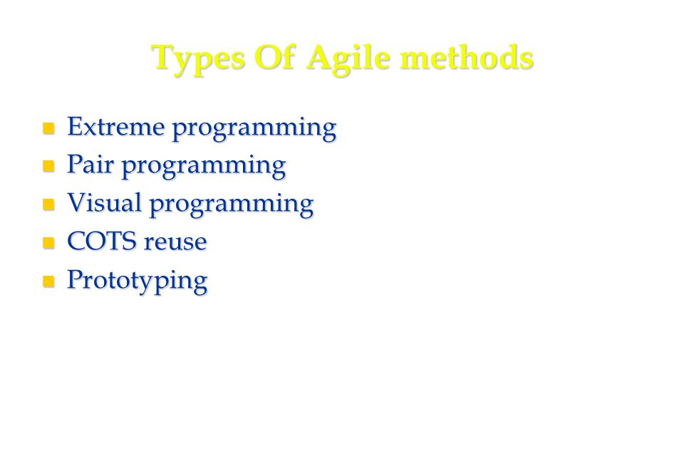 20 Types Of Agile methods Extreme programming Extreme programming Pair programming Pair programming Visual programming Visual programming COTS reuse COTS reuse Prototyping Prototyping