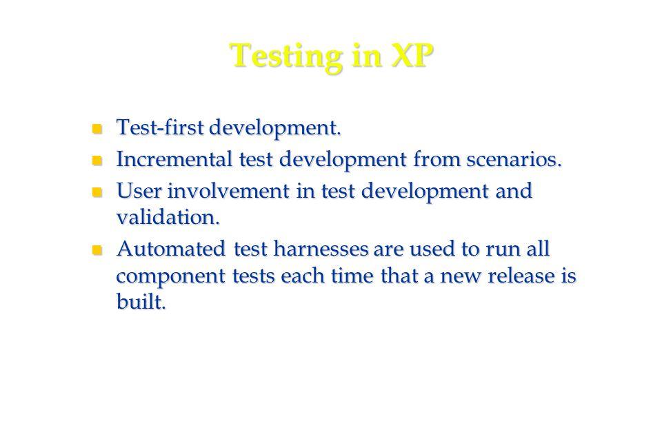 27 Testing in XP Test-first development. Test-first development.
