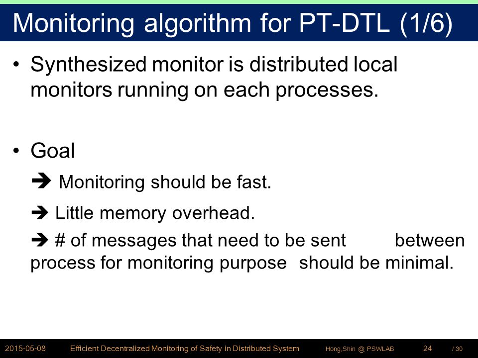 / 30Hong,Shin @ PSWLAB Monitoring algorithm for PT-DTL (1/6) Synthesized monitor is distributed local monitors running on each processes. Goal  Monit