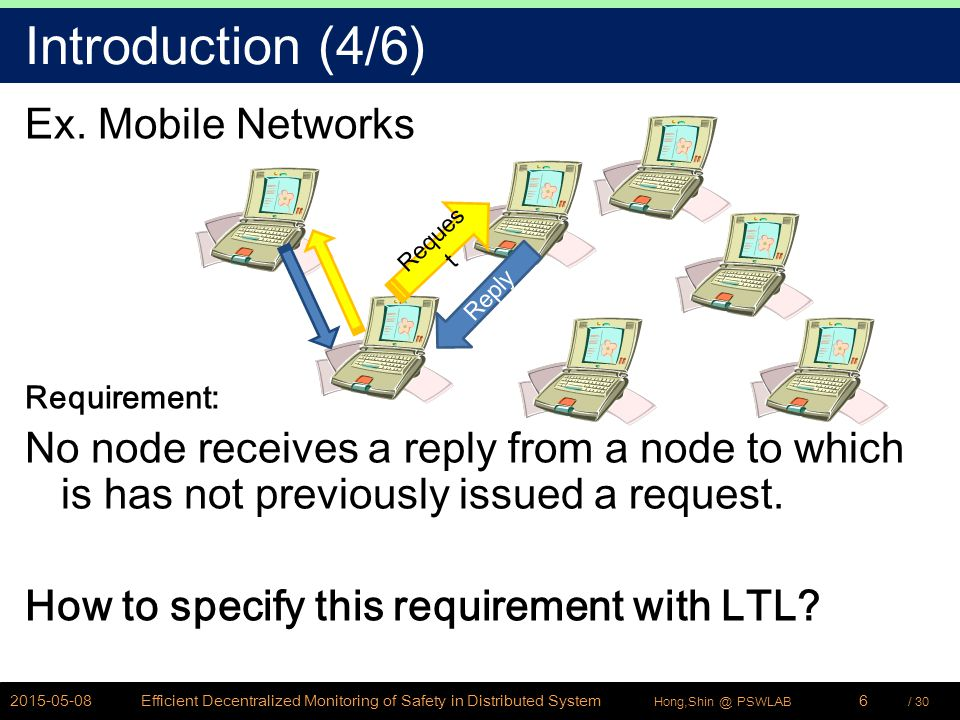 / 30Hong,Shin @ PSWLAB Introduction (4/6) Ex. Mobile Networks Requirement: No node receives a reply from a node to which is has not previously issued