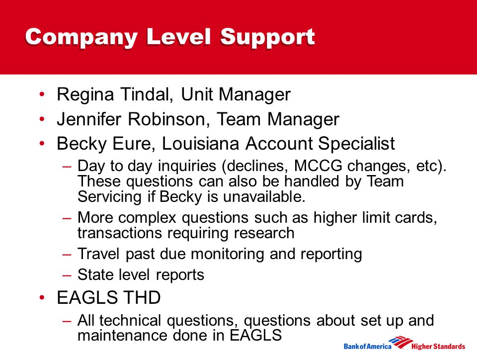 Company Level Support Regina Tindal, Unit Manager Jennifer Robinson, Team Manager Becky Eure, Louisiana Account Specialist –Day to day inquiries (declines, MCCG changes, etc).