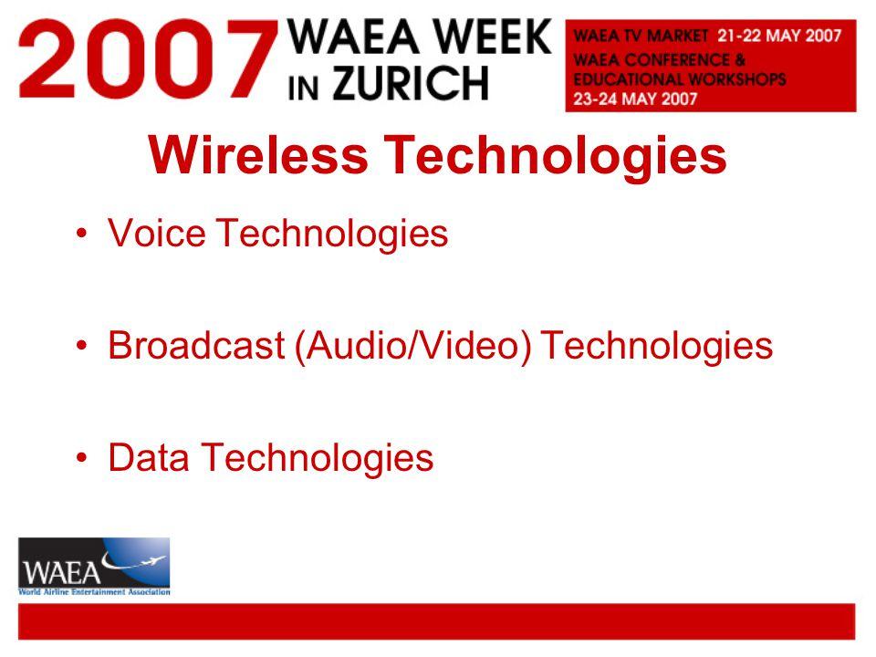 Wireless Technologies Voice Technologies Broadcast (Audio/Video) Technologies Data Technologies