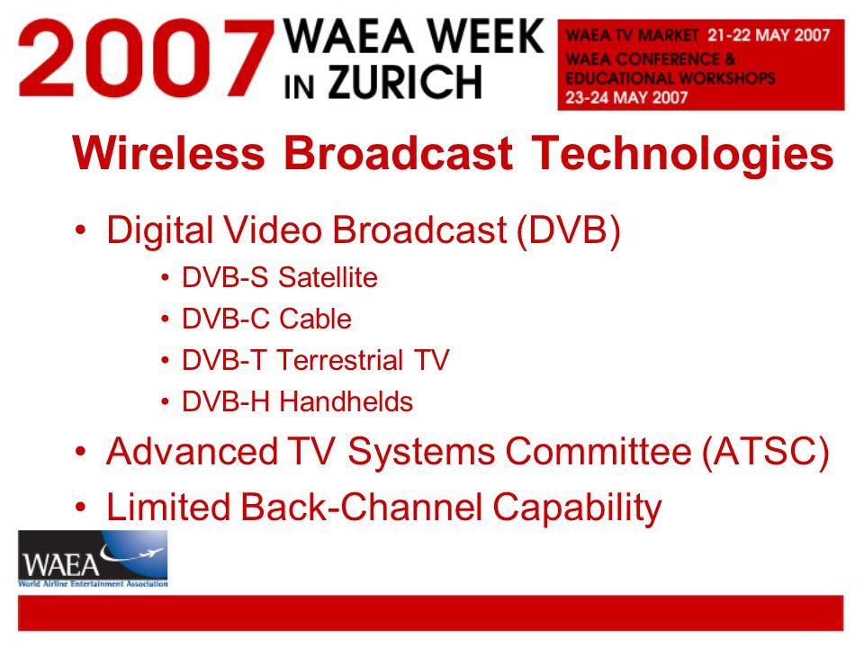 Wireless Broadcast Technologies Digital Video Broadcast (DVB) DVB-S Satellite DVB-C Cable DVB-T Terrestrial TV DVB-H Handhelds Advanced TV Systems Committee (ATSC) Limited Back-Channel Capability
