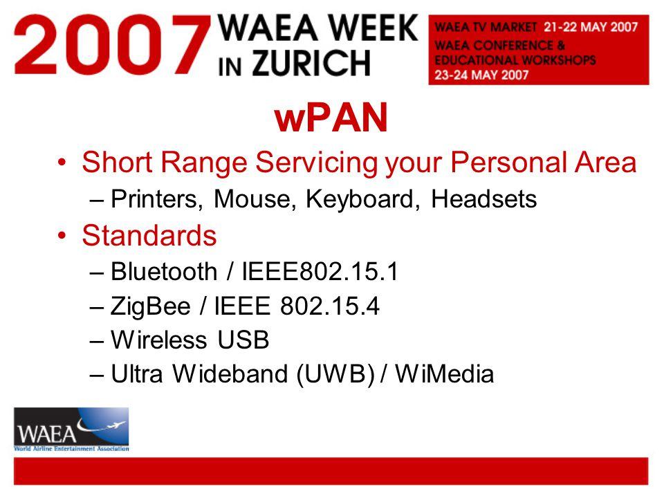 wPAN Short Range Servicing your Personal Area –Printers, Mouse, Keyboard, Headsets Standards –Bluetooth / IEEE802.15.1 –ZigBee / IEEE 802.15.4 –Wireless USB –Ultra Wideband (UWB) / WiMedia