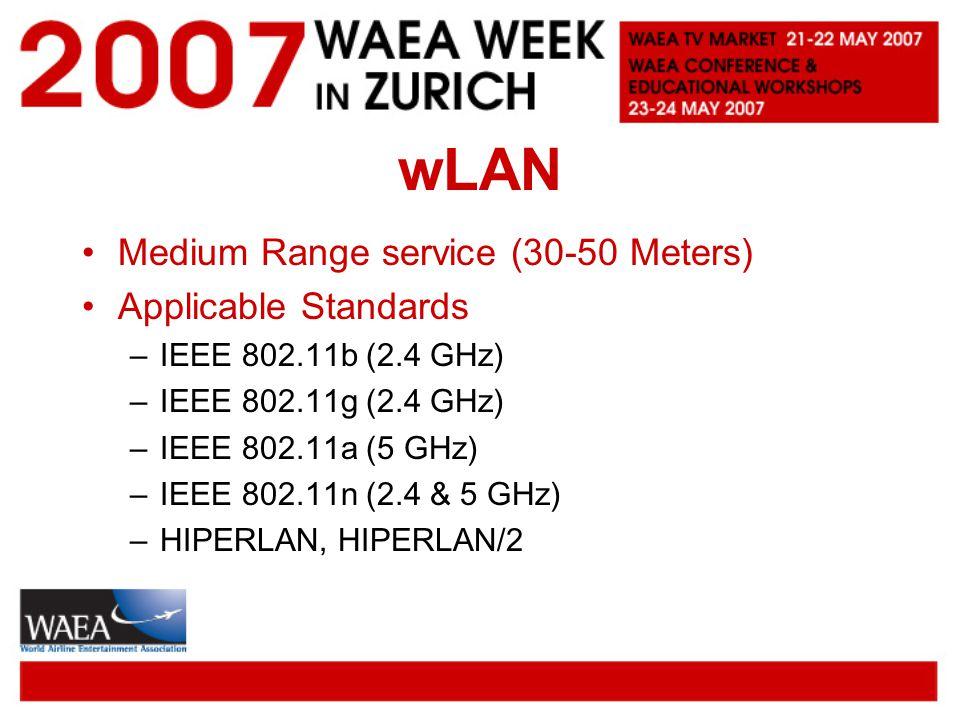 wLAN Medium Range service (30-50 Meters) Applicable Standards –IEEE 802.11b (2.4 GHz) –IEEE 802.11g (2.4 GHz) –IEEE 802.11a (5 GHz) –IEEE 802.11n (2.4 & 5 GHz) –HIPERLAN, HIPERLAN/2