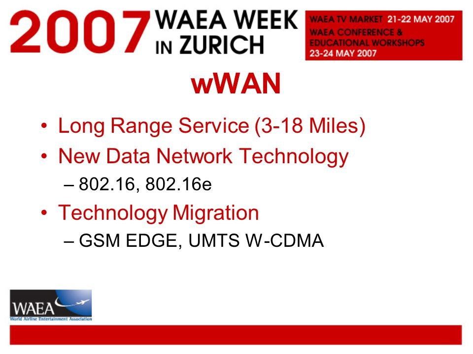 wWAN Long Range Service (3-18 Miles) New Data Network Technology –802.16, 802.16e Technology Migration –GSM EDGE, UMTS W-CDMA