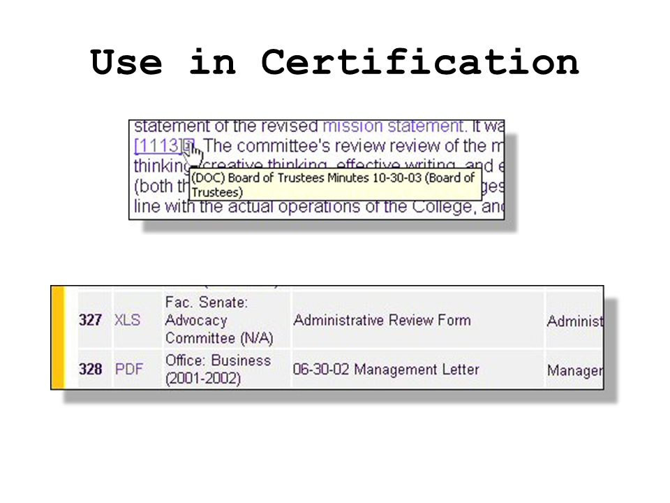 Use in Certification