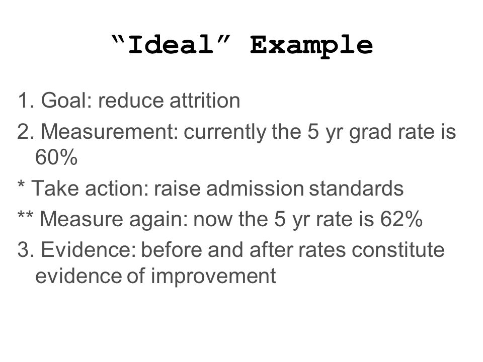 Ideal Example 1. Goal: reduce attrition 2.