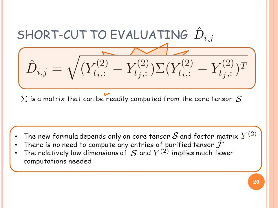 The new formula depends only on core tensor and factor matrix There is no need to compute any entries of purified tensor The relatively low dimensions of and implies much fewer computations needed SHORT-CUT TO EVALUATING impractical is a matrix that can be readily computed from the core tensor 20