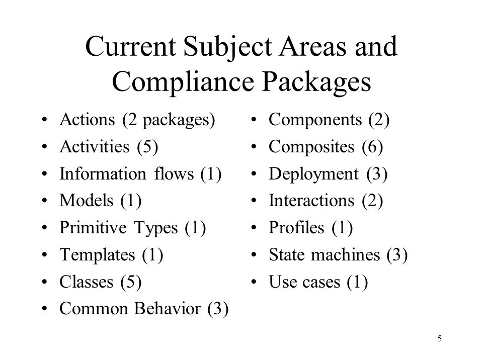 5 Current Subject Areas and Compliance Packages Actions (2 packages) Activities (5) Information flows (1) Models (1) Primitive Types (1) Templates (1)