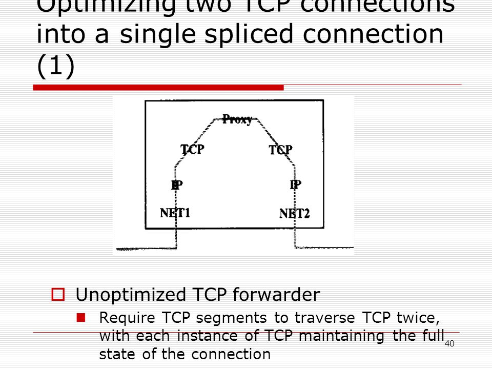 40 Optimizing two TCP connections into a single spliced connection (1)  Unoptimized TCP forwarder Require TCP segments to traverse TCP twice, with each instance of TCP maintaining the full state of the connection