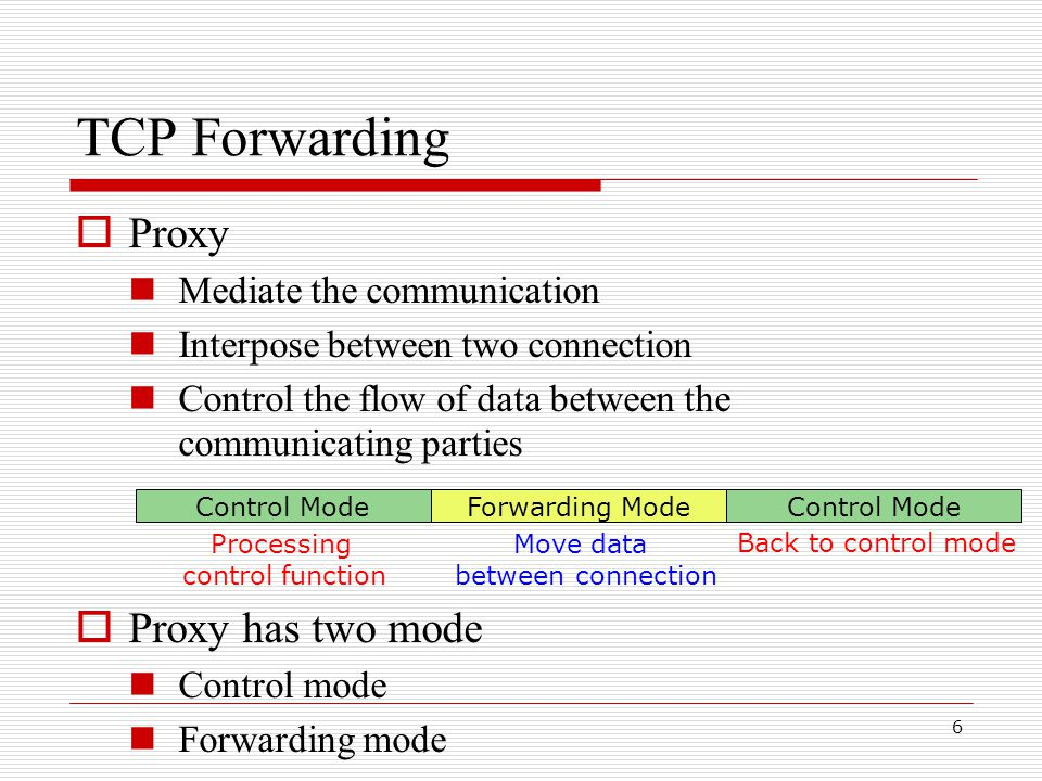 6  Proxy Mediate the communication Interpose between two connection Control the flow of data between the communicating parties  Proxy has two mode Control mode Forwarding mode Control ModeForwarding ModeControl Mode Processing control function Move data between connection Back to control mode