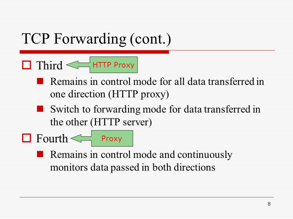 19 Flow Control  During unoptimized operation Flow control is handled by two independent TCP protocols on forwarder, and TCP protocol on the end hosts  During optimized operation Flow control is handled by the end host only  TCP forwarder can restrict window size to avoid unnecessary retransmissions