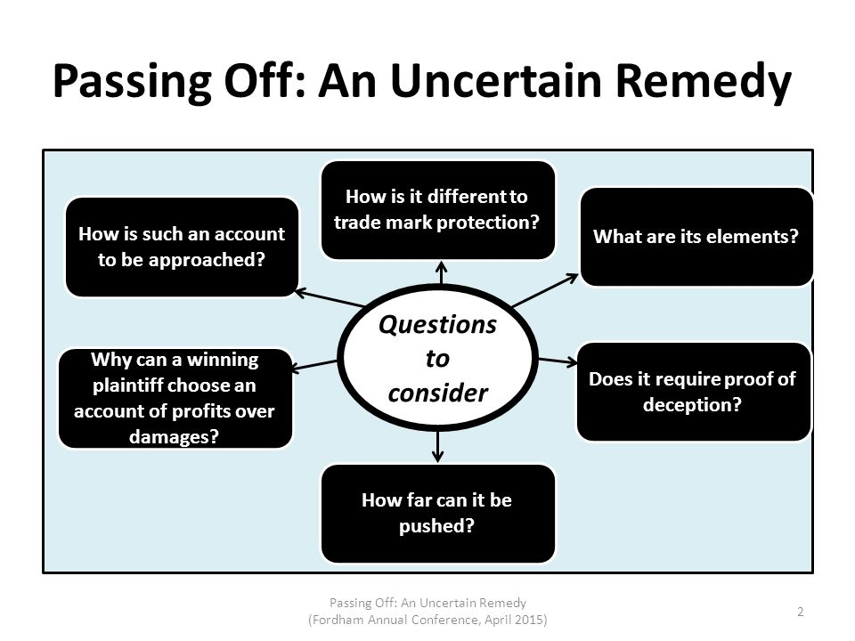 Passing Off: An Uncertain Remedy Passing Off: An Uncertain Remedy (Fordham Annual Conference, April 2015) 2 Questions to consider How is it different