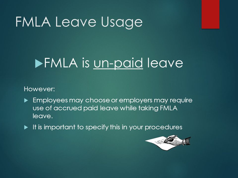 FMLA Basic Leave Entitlement: Qualifying Event  The birth of a child and/or to care for the child  Placement of a child through adoption or foster care  The care of an employee's spouse, child, or parent who has a serious health condition  The employee's own serious health condition which prevents the employee from performing their essential duties