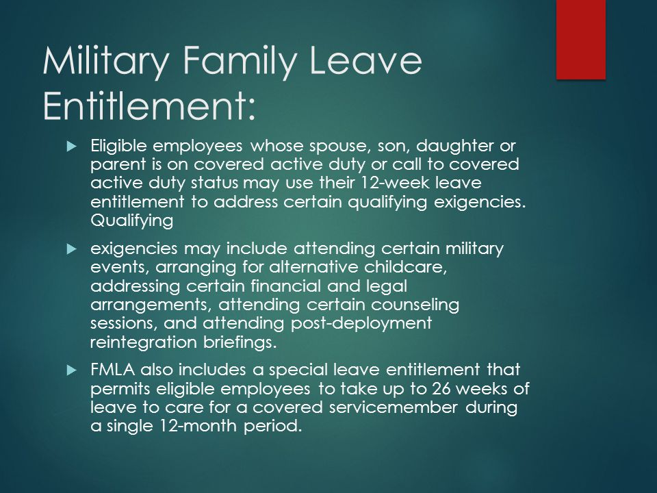 Returning from FMLA  Employees returning from FMLA must be returned to their former position, or an equivalent position with equivalent benefits.